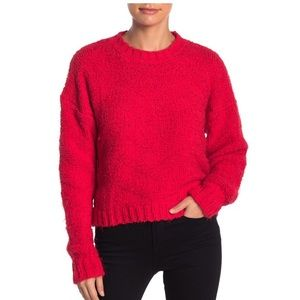 Dee Elly Red Soft Fuzzy Knit Pullover Sweater L